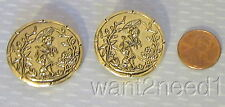 2 vtg French gilt metal GEISHA PICTURE BUTTONS Asian girl parasol Mikado 30mm