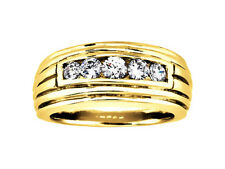 Genuine 0.35Ct Round 5Stone Mens Wedding Band Ring 10K Yellow Gold I SI2 Channel