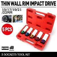 "LUG NUT SOCKET SET 1/2"" Car Thin Wall Rim Protector Impact Drive 5 Sockets Tool"