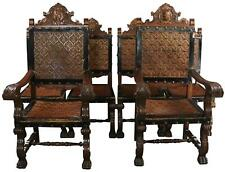 DINING CHAIRS RENAISSANCE CASTLE LIONS SET 6 CARVED MAHOGANY WOOD LEATHE