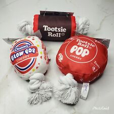 Lot of 3 Dog Squeaky Toys Charms Blow Pop Tootise Pop & Tootsie Roll