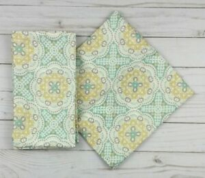 Waverly Fabric Dinner Napkins Medallions Yellow Green 19x19 Set of 4