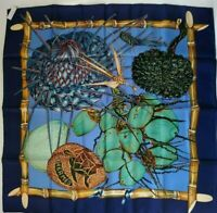 """HERMES Scarf Carre 90 """" Jardin Creole """" Silk 100% 1994 88.5x87cm Made in France"""