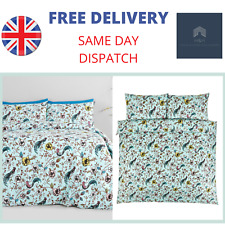 Jade Oriental Pale Blue Duvet Cover and Pillowcase Bedding Set - Single & Double