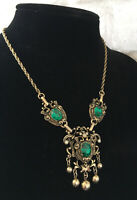 "Jewelcraft Vintage Goldtone Faux Emerald Necklace 16"" Victorian Style"