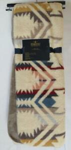 New NWT Ivory Blue Red Aztec Pendleton Sherpa to Fleece Reversible Throw Blanket