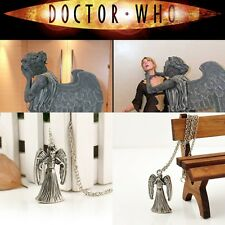 Hot Sell Weeping Angel Necklace Dr Who Inspired Charm Double Side Pendant Chain