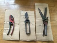 Vintage Garden Pruning Shears Snips Branch Cutters Scissors Lot Set