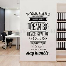 Family DIY Work Hard Dream Big Quote Wall Stickers Inspirational Removable Decal