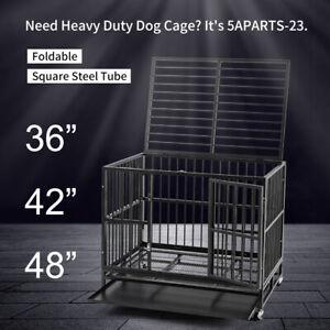 """36"""" & 42"""" & 48"""" Metal Dog Cage Heavy Duty Dog Crate w/ Latch Wheels &Tray Black"""