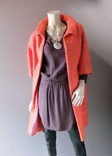 Vintage 1960s Pink Orange Sherbet Tweed Evening Coat Cocktail Duster sz 8 10 12
