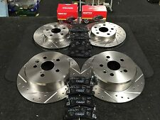 TOYOTA CELICA 1.8ST AT200 7AFE BRAKE DISC DRILLED GROOVED MINTEX PADS FRONT REAR