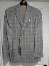 NWT Canali Brown Check Wool/Silk/Linen Sport Coat 52L EU 42L US $1595 Italy Saks