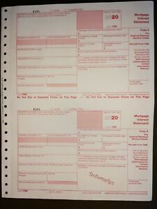2020 IRS Tax Form 1098 single sheet set for 2 payer/borrowers, carbonless 3-part