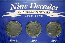 1910-1990*NINE DECADES OF AMERICAN NICKELS*1910-1990, in U.S. Mint Display Case.