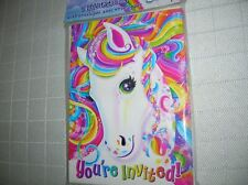 LISA FRANK Party Invitations & Envelopes (8) Rainbow Pony