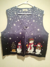 "Vintage Tacky Ugly Christmas Sweater - Large Blue - ""50 Shades Of Blue"" Winner!!"