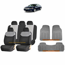 12PC GRAY ELEGANT AIRBAG SEAT COVERS & GRAY RUBBER FLOOR MATS SET FOR CARS 3864