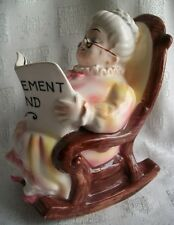 Cute as Can be Lefton China Vintage Granny in a Rocker SavingsBank