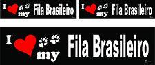 3 I love my Fila Brasileiro dog bumper vinyl stickers decals 1 large 2 small