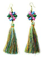 NEW BOHO FAUX LEATHER TASSEL FRINGE TASSLE EARRINGS DROP DANGLE EAR DESIGN UK