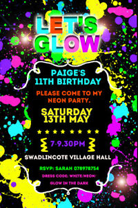 Personalised Neon / Glow Birthday Party Invites with Envelopes BA100