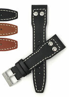 Bandini Leather Watch Band Strap, w /Rivets, for IWC Big Pilot, 18mm 20mm 22mm