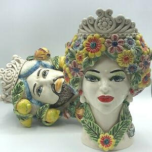 Teste di Moro in ceramica di Caltagirone 4 stagioni uomo donna testa frutta vaso