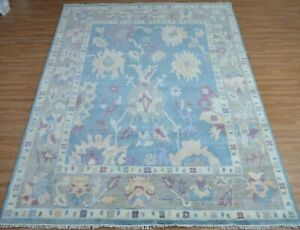 Hand knotted Tribal Oushak Wool Oriental Area Rug Blue Color 9x12