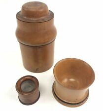 Antique Treen Wooden Medicine Apothecary Bottle, Chemist Specimen Box, Mortar