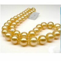 "Noblest 18"" Round 10-9 mm AAA south sea golden pearls Necklace 14K Gold"