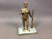 Antique Figure of Poilu Infantryman Brass on base in Marble French Antique