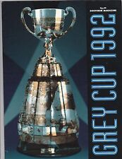 1992 CFL  GREY CUP PROGRAM,WINNIPEG BLUE BOMBERS-CALGARY STAMPEDERS
