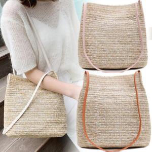 Bohemia Handmade Rattan Woven Handbag Straw Knitted Messenger Bag Summer Beach