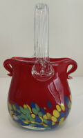 Beautiful Art Blown Glass Ruby Red Basket, Clear Handles Vase Candy Dish Deco