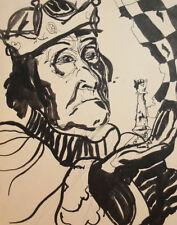 Vintage ink painting surrealist portrait