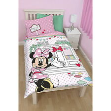 NEW OFFICIAL Minnie Mouse Disney Girls Single Bed Duvet Cover & Pillow Case Set