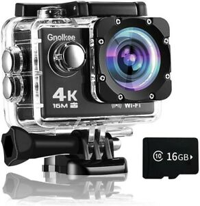 Gnolkee WiFi Action Camera, 4K 16MP Underwater Video Camera 170 Wide Angle Sport