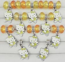 Dancing Kitty Yellow Dress Acrylic Bead 30 pc Fit European Jewelry 5mm Hole D162