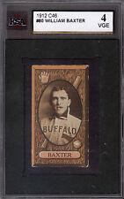 1912 C-46 Imperial Tobacco BASEBALL card #80 WILLIAM BAXTER KSA 4 VG-EX BUFFALO