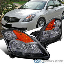 For 07-09 Nissan Altima 4Dr Sedan Black Headlights Amber Signal Lamps Left+Right