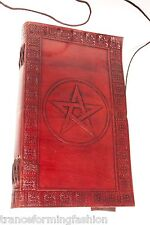 9x5 Handmade Leather Sketchbook, Journal diary Celtic Pentagram, Pentagon wicca