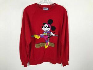 Vintage Walt Disney Sweatshirt Shirt Size M L Aerobic Minnie Mouse Workout Red
