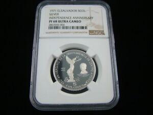 El Salvador 1971 Proof Silver 5 Colones NGC Graded PF 68 Ultra Cameo 2863545-002
