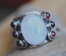 Handarbeit Silberring Mondstein Granat Rot 61 Ring Silber Bandring Verspielt