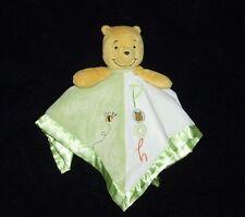 Disney Baby Winnie the Pooh Green White Satin Bee Blanket Lovey Rattle