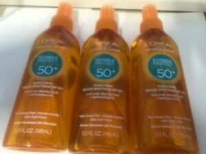 3 L'Oreal Invisible Protect Sunscreen Oil/SPF 50+/Water Resistant/5 fl oz
