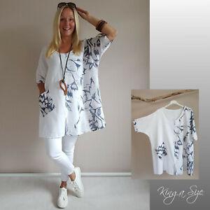 ITALY Sommer Tunika Bluse Lagenlook plus size Blumen Print Gr.52 weiß blau