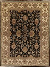 9x12 Black Floral Agra Traditional Oriental Area Rug Hand-Knotted Wool Carpet