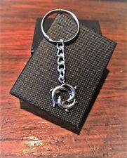 Handmade Silver Dolphin Circle Holiday Keyring / Handbag Charm